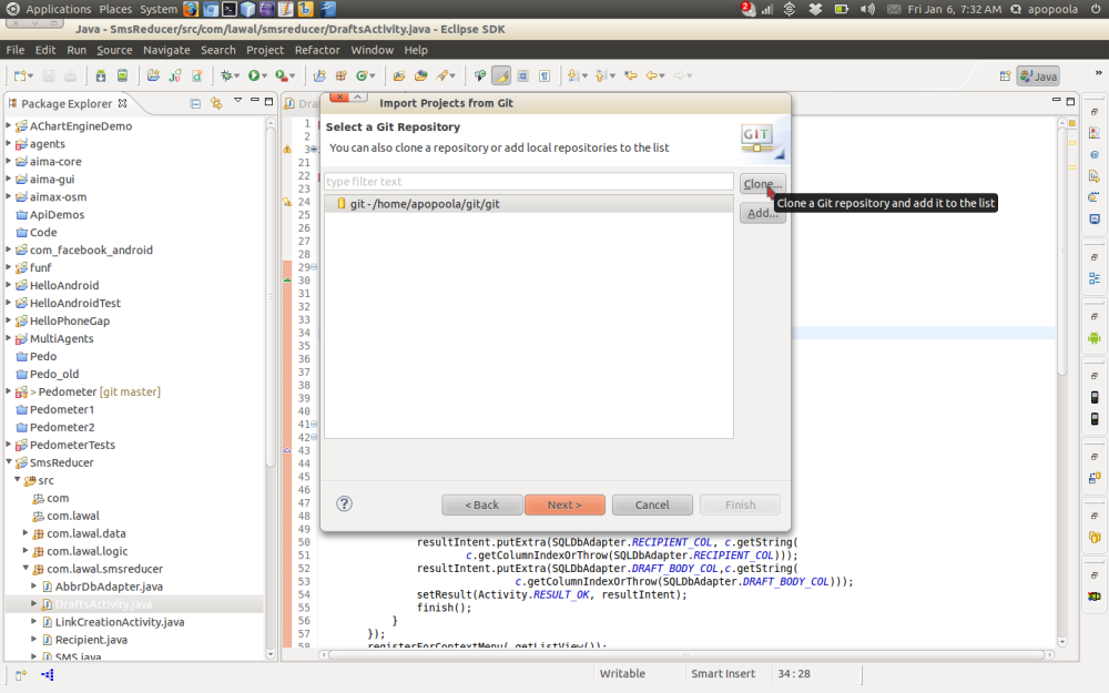 Importing a remote Git project using Eclipse (2/6)