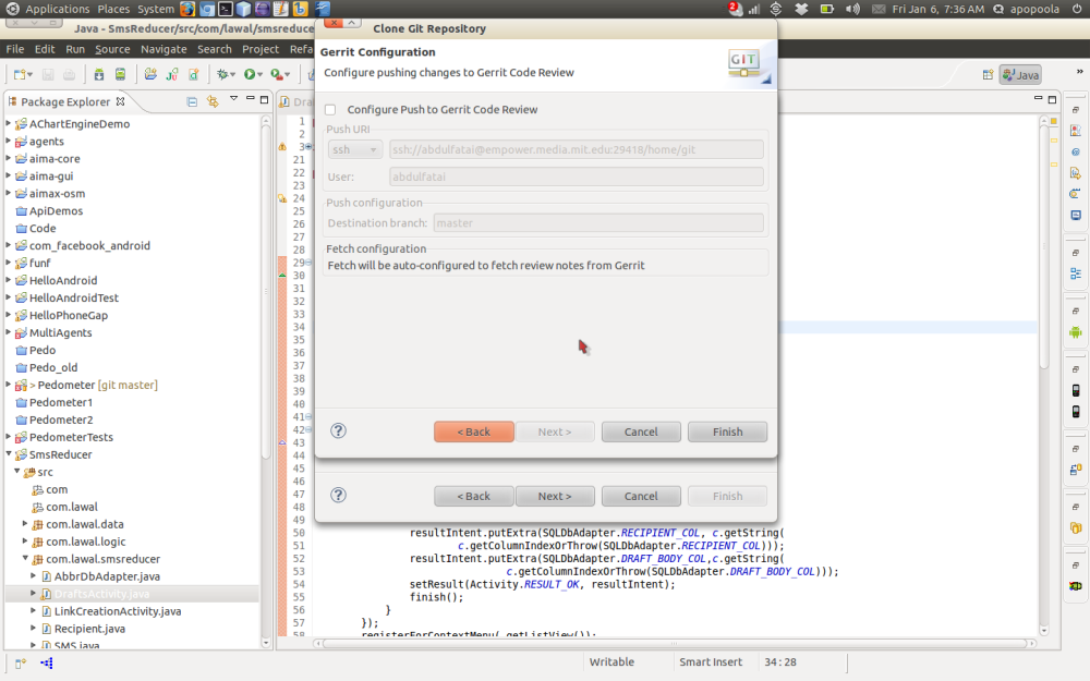 Importing a remote Git project using Eclipse (6/6)