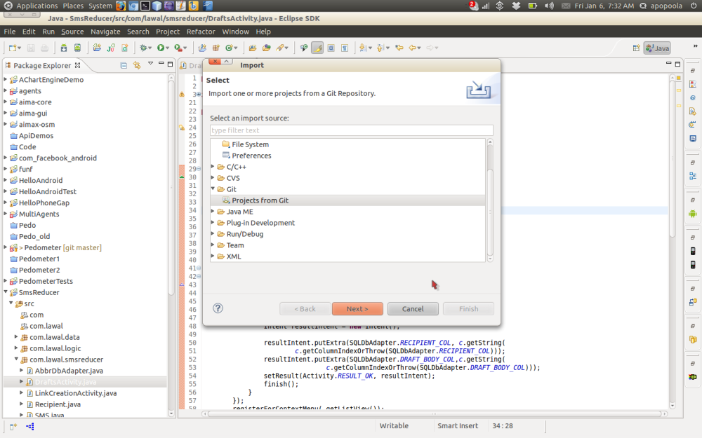 Importing a remote Git project using Eclipse (1/6)