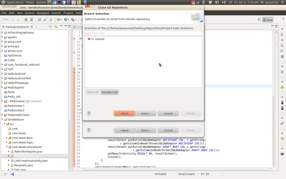 Importing a remote Git project using Eclipse (4/6)