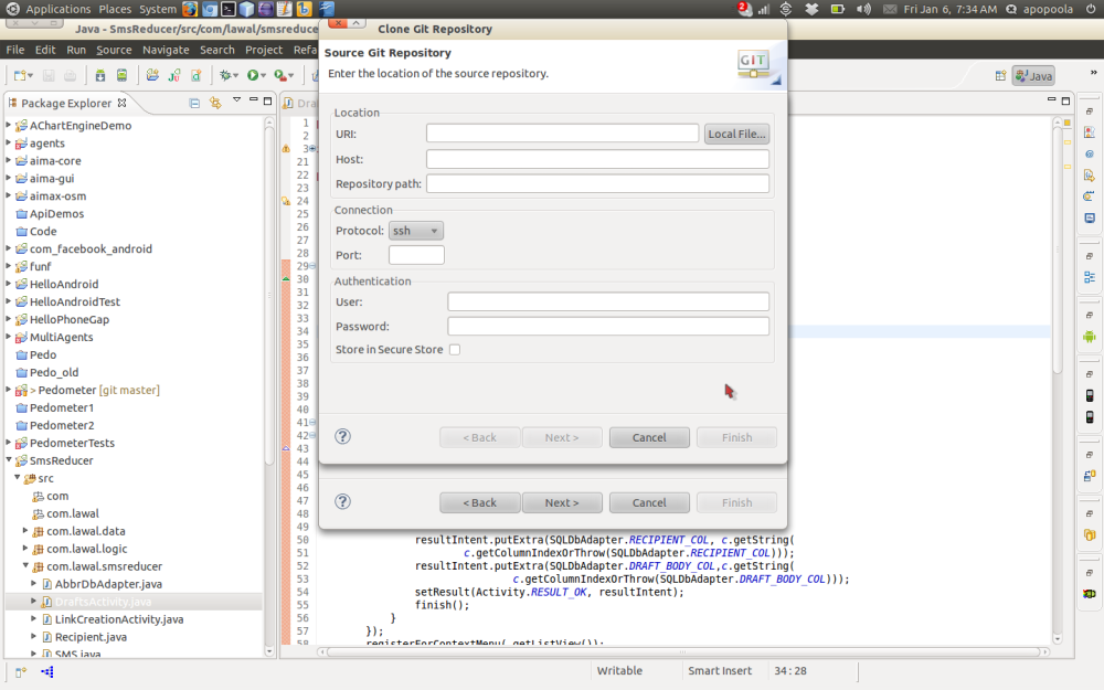 Importing a remote Git project using Eclipse (3/6)