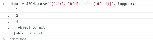 """let logger = (key, value) => console.log(`${key} : ${value}`); let output = JSON.parse('{""""a"""":1, """"b"""":2, """"c"""": {""""d"""": 4}}', logger);"""